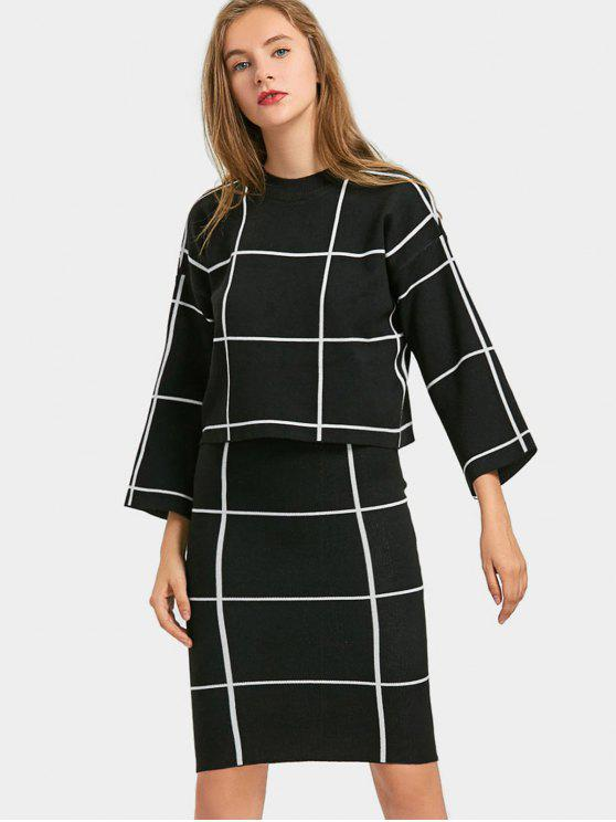 unique Grid Knitwear with Bodycon Skirt - BLACK ONE SIZE