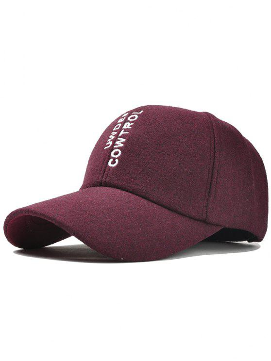 ladies Vertical Letter Embroidery Graphic Hat - WINE RED