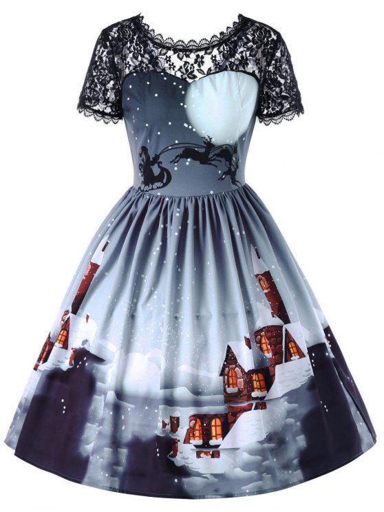 5ebe7c5791320 35% OFF] 2019 Christmas Sheer Lace Yoke Swing Dress In ICELANDIC | ZAFUL