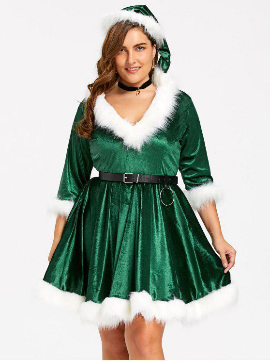 fashion Plus Size Christmas Faux Fur Panel Velvet Dress with Hat - GREEN 4XL
