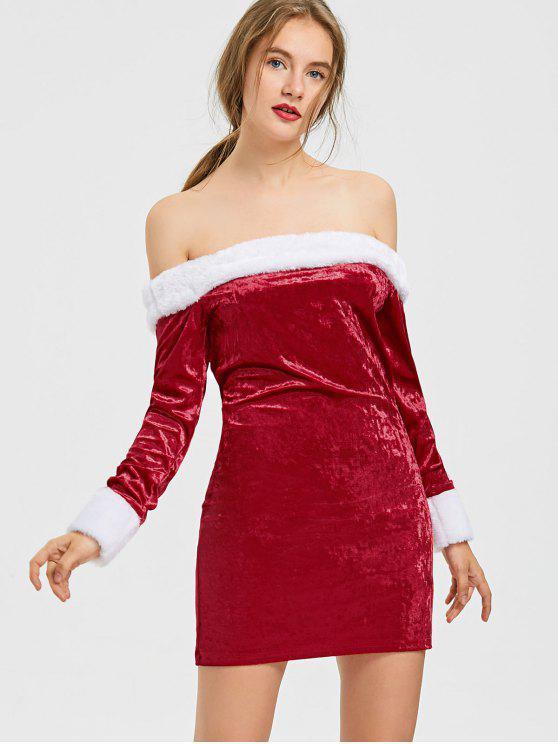 women Christmas Two Tone Velvet Off The Shoulder Dress - RED S