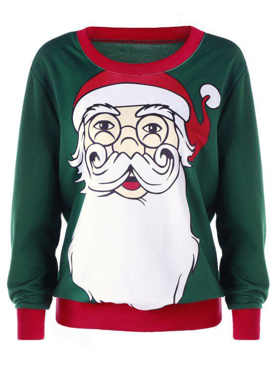 hot Plus Size Christmas Santa Claus Print Sweatshirt - DEEP GREEN 5XL