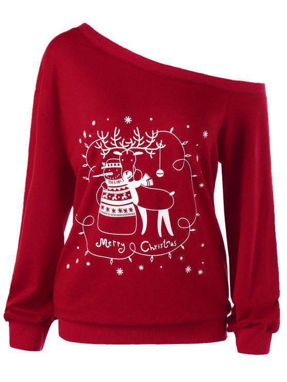 fancy Christmas Plus Size Skew Collar Sweatshirt - RED 2XL