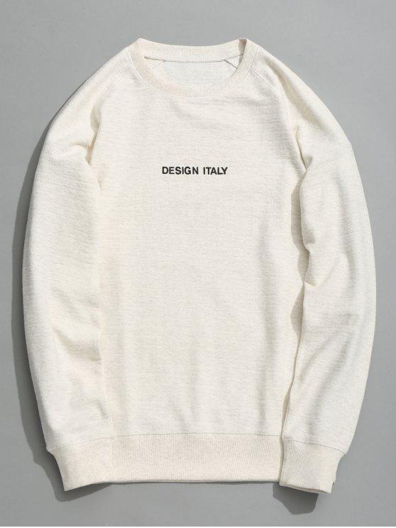 unique Letter Crew Neck Sweatshirt - WHITE L