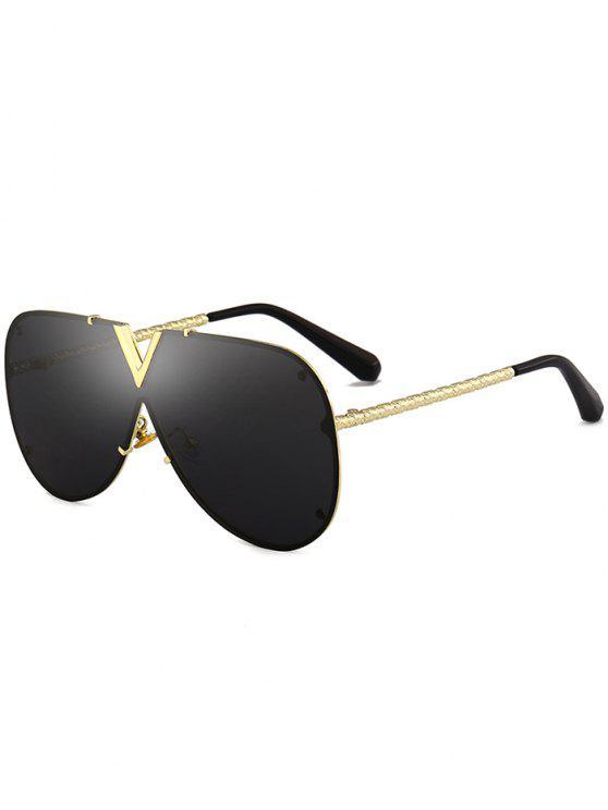نظارات شمسية بعدسة واحدة مضادة للأشعة فوق البنفسجية بإطار معدني - جلود الإطار + عدسه سوداء