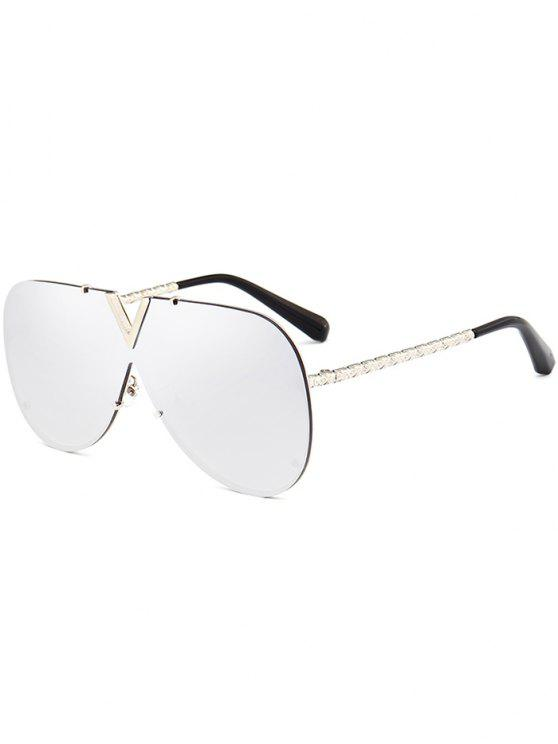 women Outdoor V Shape Metal Frame One Piece Lens Sunglasses - REFLECTIVE WHITE COLOR