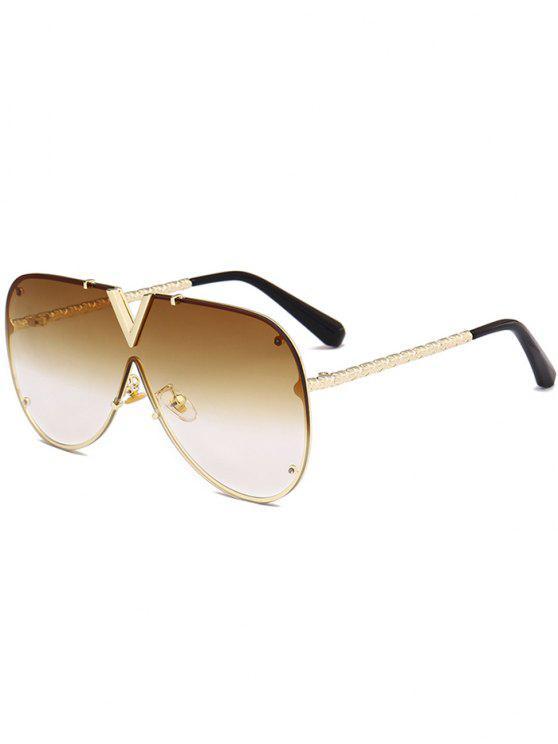 lady Outdoor V Shape Metal Frame One-piece Lens Sunglasses - GOLD FRAME + DARK BROWN LENS