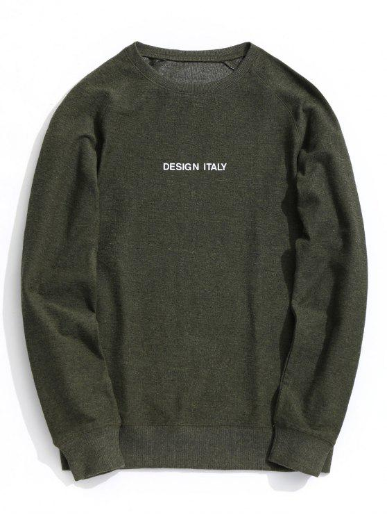 outfits Letter Crew Neck Sweatshirt - ARMY GREEN L