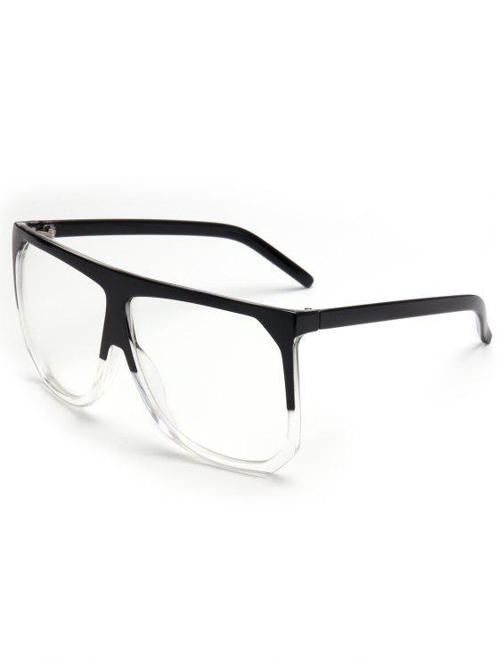 Óculos de sol quadrados de tamanho completo vintage cheio - Branco Transparente