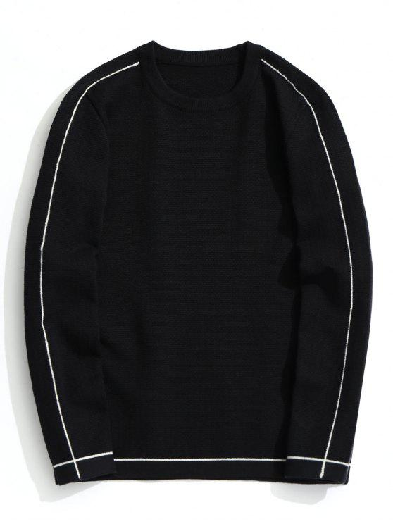outfits Crew Neck Pullover Sweater - BLACK 2XL