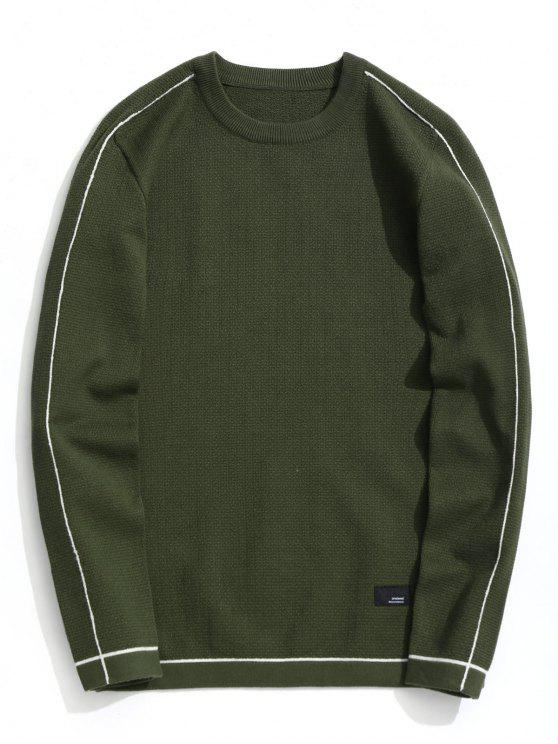 fancy Crew Neck Pullover Sweater - ARMY GREEN 2XL