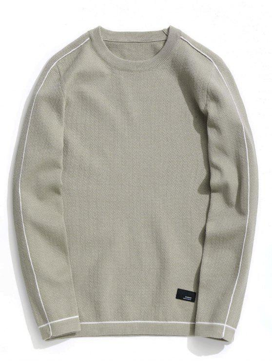 affordable Crew Neck Pullover Sweater - LIGHT KHAKI 3XL