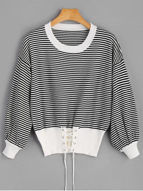 2019 Crew Neck Lace-up Stripe Sweater In BLACK ONE SIZE  baec7b777