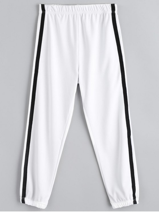 unique Casual Elastic Waist Jogger Pants - WHITE L