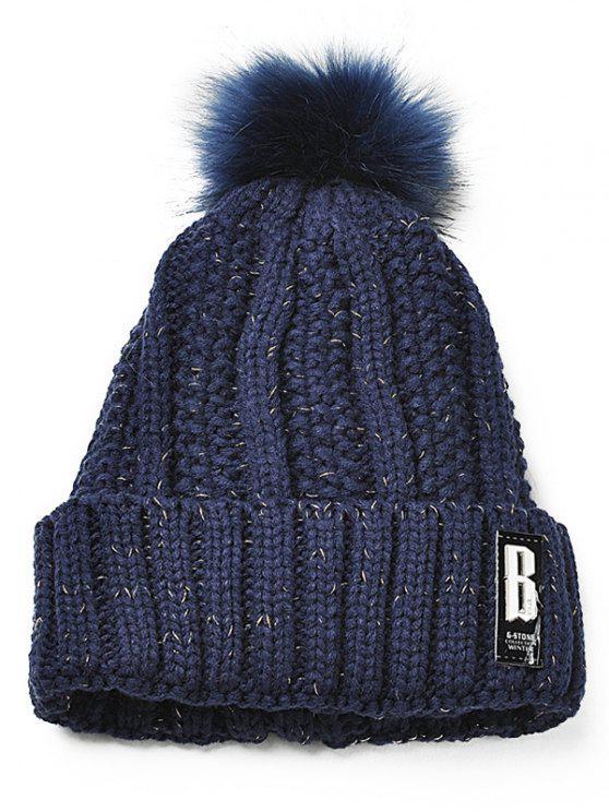 shop Letter B Embellished Crochet Knitted Beanie Scarf Set - CADETBLUE