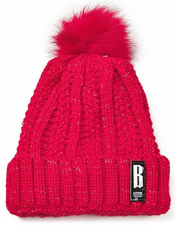 trendy Letter B Embellished Crochet Knitted Beanie Scarf Set - RED