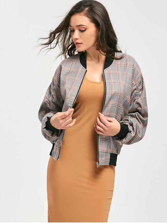 shops Ruched Sleeve Zip Up Checked Jacket - CHECKED ONE SIZE