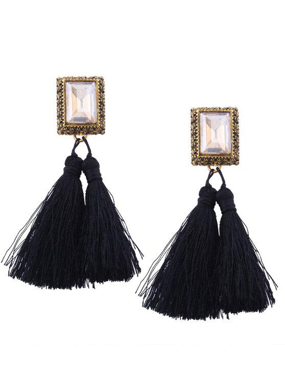 Faux Crystal Tassel Geometric Earrings - Negro