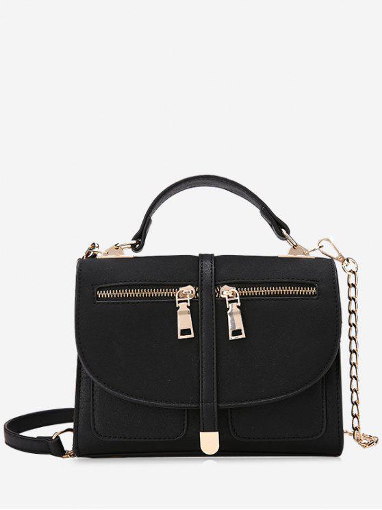 fashion Color Block Front Zips Crossbody Bag - BLACK