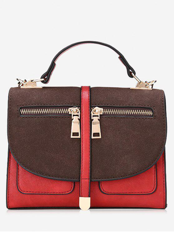 women Color Block Front Zips Crossbody Bag - RED