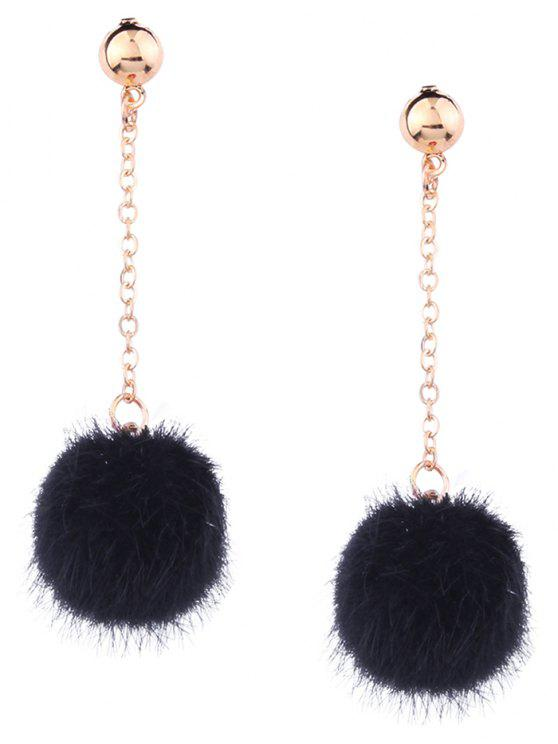 ladies Cute Fuzzy Ball Chain Earrings - BLACK