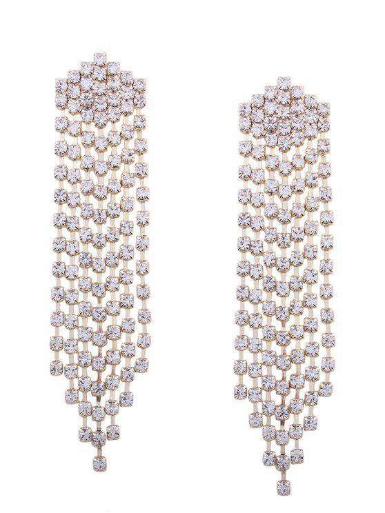 hot Sparkly Rhinestone Fringed Chain Earrings - GOLDEN