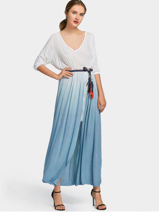 ladies Ombre Front Zipper Belted Maxi Dress - BLUE M