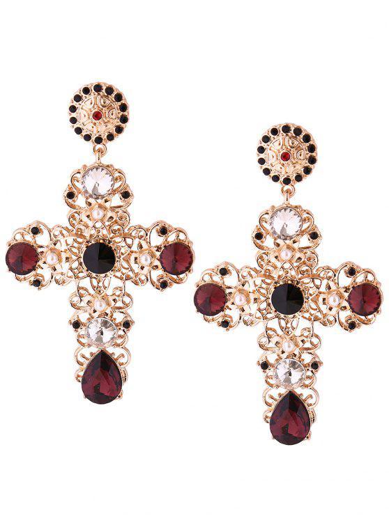 sale Rhinestone Faux Pearl Cross Teardrop Earrings - GOLDEN