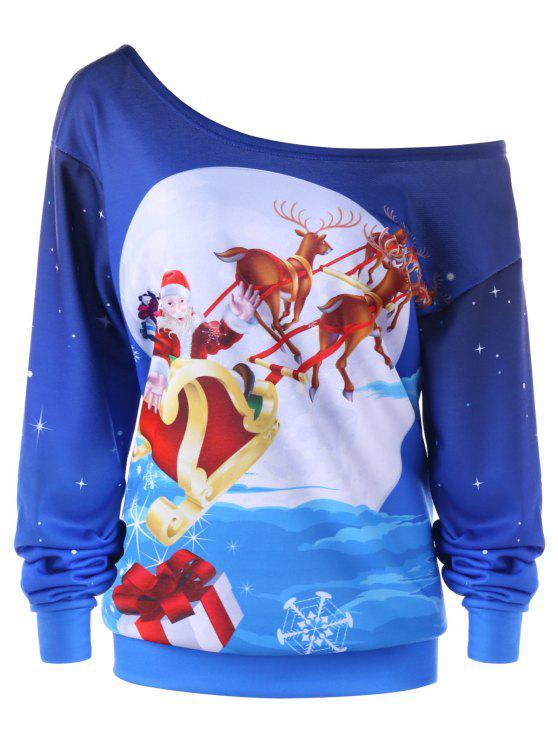 Camisola de Natal de colar de inclinação de rena tamanho grande - Azul XL