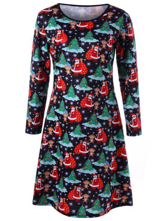 796d5704036 Plus Size Long Sleeve Christmas Tee Dress