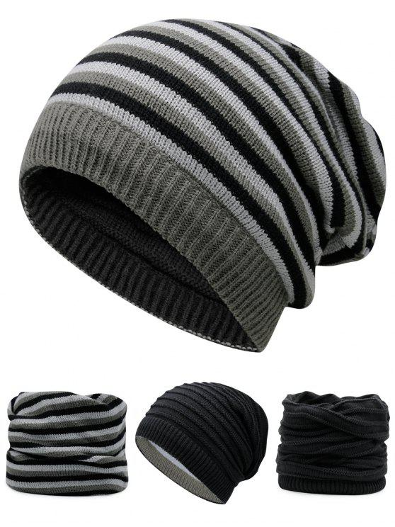 best Ponytail Hole Embellished Reversible Crochet Knitted Beanie - BLACK