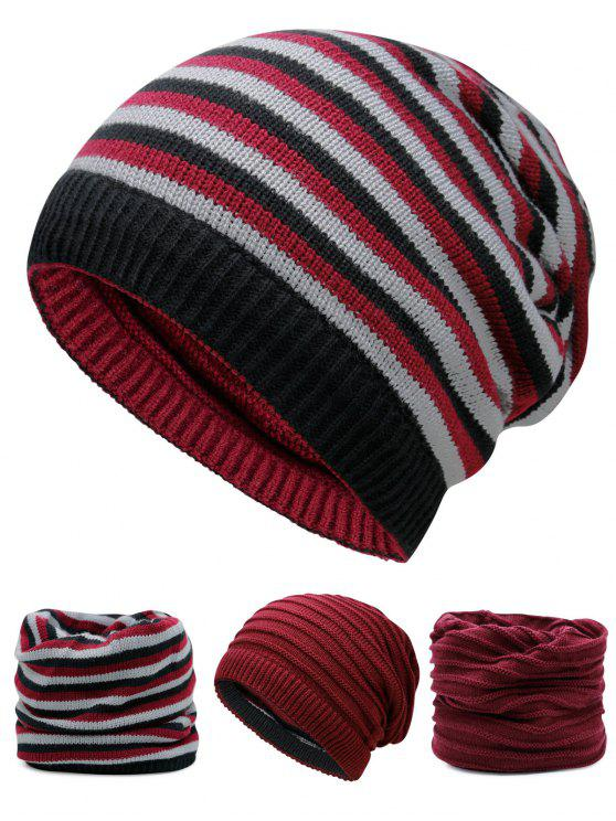 online Ponytail Hole Embellished Reversible Crochet Knitted Beanie - WINE RED