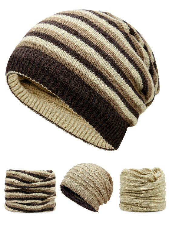outfits Ponytail Hole Embellished Reversible Crochet Knitted Beanie - PALOMINO