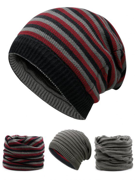 shops Ponytail Hole Embellished Reversible Crochet Knitted Beanie - PEARL DARK GREY