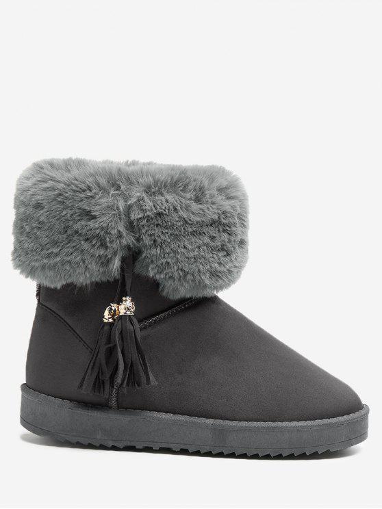 حذاء الثلوج بكعب مسطح مزين بشرابات - رمادي 38