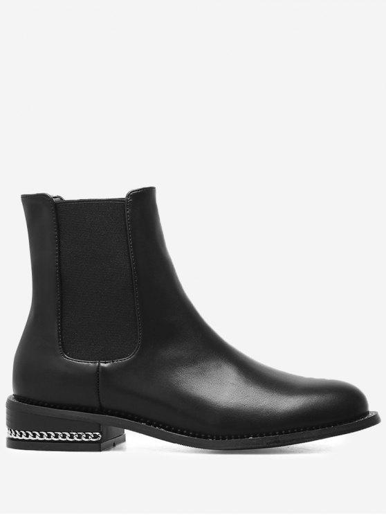 Stacked Heel Curb Chain Chelsea Boots - Black 37 enjoy cheap price 0XlHXazN