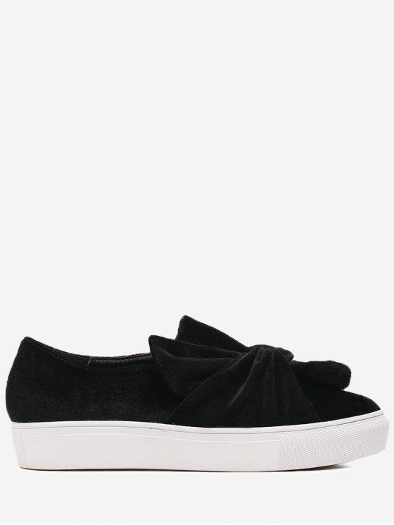 Cross Twist Front Velour Slip On Sneakers - Negro 36
