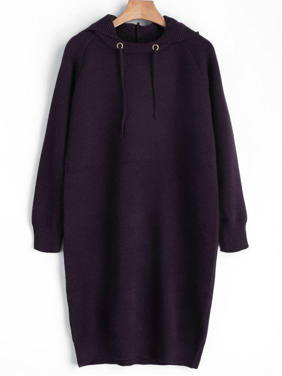 Kapuze Pullover Kleid - Magenta Eine Größe