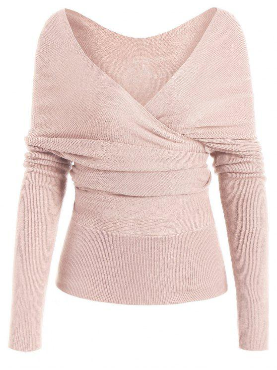 fancy Plunging Neck Surplice Knitted Top - LIGHT PINK S