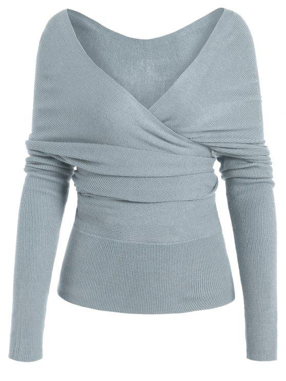 women Plunging Neck Surplice Knitted Top - BLUE GRAY M