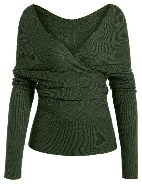 outfits Plunging Neck Surplice Knitted Top - ARMY GREEN M