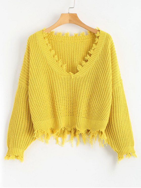 women Loose Ripped V Neck Sweater - YELLOW ONE SIZE