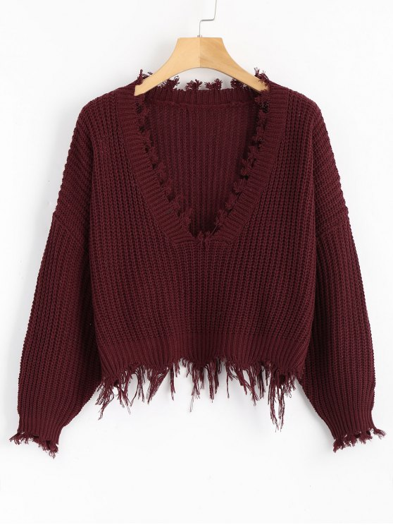 Loose Ripped V Neck Sweater - Vino Rojo Única Talla