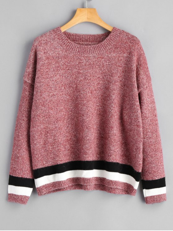 shops Heathered Stripes Panel Pullover Sweater - PINKISH PURPLE ONE SIZE