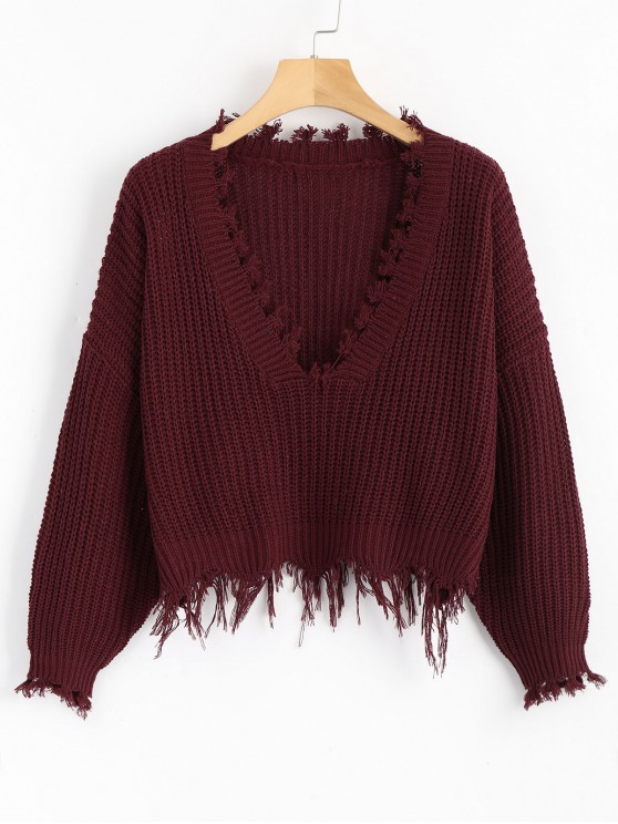sale Loose Ripped V Neck Sweater - WINE RED ONE SIZE