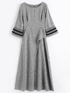 Embellished Striped A Line Dress - Grey White S