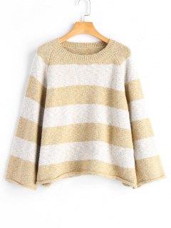 Pullover Mit Rollsaum ,Raglan Ärmel Und Streifen  - Streifen