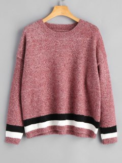 Heathered Stripes Panel Pullover Sweater - Pinkish Purple