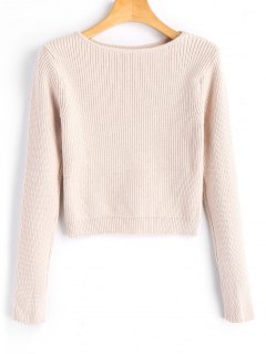 Long Sleeve Fitting Pullover Sweater - Light Apricot
