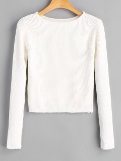 Long Sleeve Fitting Pullover Sweater - White